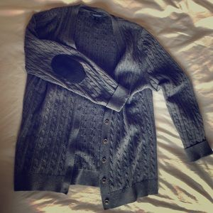 cable knit cardigan with elbow patches